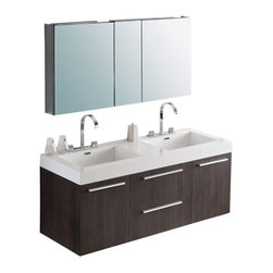 Fresca - Opulento Double Sink Bathroom Vanity w Medicine Cabinet - Widespread Faucet Mount (8 in. ). Soft Closing Drawers and Doors. P-traps, Faucets, Pop-Up Drains and Installation Hardware Included. With overflow. Sink Color: White. Finish: Gray Oak. Sink Dimensions: 19.5 in. x12 in. x4.5 in. . Medicine Cabinet: 49 in. W x 26 in. H x 5 in. D. Materials: MDF with Acrylic Countertop/Sinks with Overflow. Vanity: 54 in. W x 18.63 in. D x 23.5 in. HThere is always great design in simplicity. Double the greatness with this double sink vanity with accompanying medicine cabinet. To ease any storage worries, beautiful mirrored medicine cabinet will satisfy immediate storage needs for two. A beautiful widespread chrome faucet is also included. A great ensemble for those with room to spare but not without limitations on measurements. Ideal for anyone looking for a winning combination of style, sleek design, and size that brings it all together to present something dashingly urban. Optional side cabinets are available.