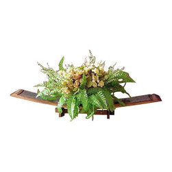 """Master Garden Products - Oak stave tray with support, 36""""L x 4""""W x 5""""H - FST-36 is a multi-stave tray that features dual functioning pieces.  The large scale of the multi-stave tray easily accommodates your arrangements of flowers, fruits, vegetables, pine cones, or holly boughs."""