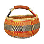 Ghanaian Bolga Shopping Tote Basket - From the market to the tabletop, this Ghanaian tote adds personality to your shopping expeditions. Its high, hand-woven walls will keep your treasures in place, and the intricate black and red pattern make it a pleasure to be seen with. When you're not showing it off outside, display it at home as an eclectic accent piece.