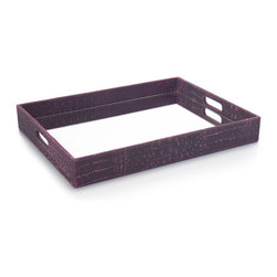 Our Collection - Original Patterned Rectangle Tray - Charcoal browns and fuchsia combine on this crocodile patterned rectangle tray. The mirrored bottom reflects the lively color combinations.