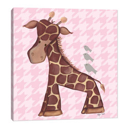 "Doodlefish - Jackie Giraffe - Pink - Jackie is a sweet little giraffe who gives her little bird friends a piggy back ride through the jungle.  This artwork is an 18"" x 18"" Gallery Wrapped Giclee Print.  It is a mix of a graphical hounds tooth background and hand painted artwork by Regina Nouvel.  This artwork is also available mounted in a painted frame of your choice.    The finished size of the mounted piece is approximately 22""x22"".  The art can be personalized with your child's name."