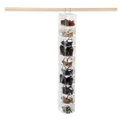 Richards Homewares, Inc. - Crystal Clear 10 Compartment Vinyl Shoe Organizer - Shoe organizer installs in seconds with hooks and has 10 compartments to store shoes, belts, handbags or other accessories. Crystal clear vinyl makes for easy viewing.