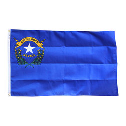 Flagline - Nevada - 3' x 5' Heavy Duty 2-Ply Polyester Flag - Made of durable 2-Ply Polyester this Nevada flag is perfect for dry, windy areas.  Reinforced stitching on the fly end and a canvas header with brass grommets on the hoist complete the flag.