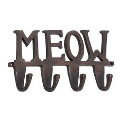 "BZBZ28373 - Aluminum Wall Hook Inscribed with The Word Meow - Aluminum wall hook inscribed with the word meow. Display your affection for your feline friend with this delightful wall hook embossed with the words ""meow"". The wall hook is made from sturdy aluminum and sports an antique black finish. The dimensions of the wall hook are 12"" x 2"" x 7""."