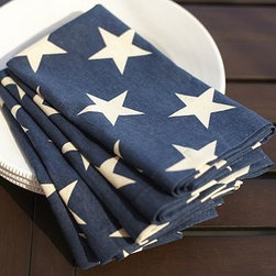 """American Flag Star Dinner Napkin, 20"""", Set of 4, Blue - Star spangled with patriotic pride, our linen/cotton napkins are the perfect accent for your Fourth of July feast, or any other lively summer gathering. 20"""" square Made of printed linen/cotton. Set of 4. Monogramming is available at an additional charge. Monogram is 1.5"""" high and will be placed on one corner of each napkin. Machine wash. Imported."""
