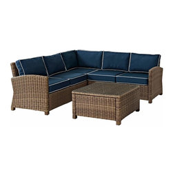 Crosley - Biltmore 4-Piece Outdoor Wicker Seating Set, Navy - The modular design of the Biltmore 4-Piece Outdoor Wicker Seating Set by Crosley allows you to customized seating area in your backyard. Coordinate with other Biltmore Wicker pieces or create your own configuration (additional pieces sold separately)