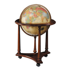 "Replogle - Lafayette illuminated floor world globe - The elegant 33-inch tall chair-side LaFayette is a practical addition to the home or office. Features a 16"" diameter illuminated globe ball, tasteful walnut-finish base and full die-cast meridian (ring supporting the globe) contribute to a globe you'll both use and admire for many years to come."