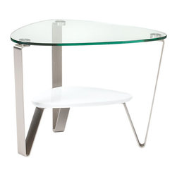 BDI - Dino End Table - The Dino End Table from BDI has a sleek and elegant design. The table has an organic and asymmetrical shape. The legs are made of steel and the table top is glass. The table legs converge to prop up a middle shelf. The shelf is available in 3 color options.