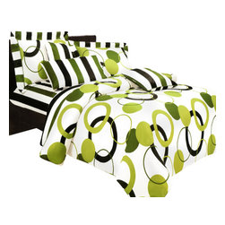 Blancho Bedding - Blancho Bedding - Artistic Green 100% Cotton 3PC Sheet Set  Twin Size - Three-piece set for Twin size (consisting of a pillowcase, a fitted sheet and a flat sheet)