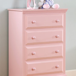 Lang Furniture - Lang Furniture Pink 4-drawer Chest - This 5 drawer chest is constructed with raised drawer fronts - enhanced by sturdy silver- finished pulls or matching painted wood knobs to add fun and confidence to your child's bedroom.