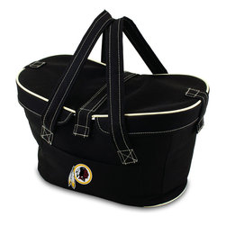 Picnic Time - WashingtonRedskins Mercado Picnic Basket in Black - This Mercado Basket combines the fun and romance of a basket with the practicality of a lightweight canvas tote. It's made of polyester with water-resistant PEVA liner and has a fully removable lid for more versatility. Take it to the farmers market, the beach, or use it in the car for long trips. Carry food or sundries to and from home, or pack a lunch for you and your friends or family to share when you reach your destination. The Mercado is the perfect all-around soft-sided, insulated basket cooler to use when you want to transport a lunch or food items and look fashionable doing it.; Decoration: Digital Print; Includes: 1 removable canvas lid