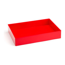 Poppin - Accessory Tray, Red - When it comes to organizing, don't head for the straight and narrow. Become an accessory to wild style with this tray on your desk, vanity or closet shelf. It measures 9 3/4 by 6 3/4 by 1 1/2 inches and is finished in your choice of eye-popping colors in a lacquer-like finish.