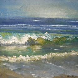 """""The Green Sea"" By Carol Schiff"" (Original) By Carol Schiff - I Live Close To The Sea And Find It Turns Up In My Work Frequently.  It'S A Fascinating View Which Changes With Each Visit."