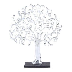 Woodland Import - Whimsical Metal Tree Sculpture - 24H in. Multicolor - 26977 - Shop for Sculptures Statues and Figurines from Hayneedle.com! A tree for all seasons the Whimsical Metal Tree Sculpture - 24H in. creates a serene style in any room of the house. The sturdy aluminum has a polished silver finish that s sure to draw the eye and the intricate tree silhouette features branches and leaves that are sure to catch the eye. A black-finished base completes the design.