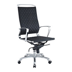Modway Furniture - Modway Vibe EEI-232-BLK Office Chair in Black - EEI-232-BLK Office Chair in Black belongs to Vibe Collection by Modway Instill some panache to your office with a chair that says it all. Vibe's modern style reverberates from start to finish. From its diamond patterned leather seat and back, to its high polished chrome frame, if ever there was a chair that turned seating into an artform it would be Vibe. Conveniently adjust your seating position with an easy to use seat tilt lever.The five-star hooded chrome base comes fitted with casters appropriate for any floor. Vibe is also height adjustable with its powerful pneumatic lift. The upward angle of the arms both adds to the distinguished nature of the piece, and helps you properly position your wrists for typing. The chair also comes fully equipped with a tension knob that allows you to personalize the back tilt to fit your particular build and posture. Vibe works just as well in smaller spaces as it does in spacious conference rooms. If you're looking for a modern chair with a bit of vivacity to it, then you've found your match. Set Includes: One - Vibe Modern Leather Highback Office Chair Office Chair (1)