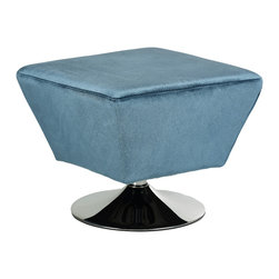 Cortesi Home - Milano Swivel Ottoman in Pale Blue Velveteen Fabric - The Milano ottoman is a decorative and functional accent to your home decor and has a swivel feature. Upholstered in a pale blue soft velveteen fabric and features a chrome base, this lightweight ottoman can be easily moved between rooms.