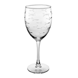 Rolf Glass - School of Fish Goblet 10.5oz, Set of 4 - Still or sparkling, it doesn't matter. These are the water goblets you'll turn to for entertaining on those nights on the deck or patio. A school of artfully etched fish swims across every surface.