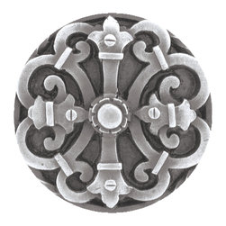 "Notting Hill - Notting Hill Chateau Knob - Antique Pewter - Notting Hill Decorative Hardware creates distinctive, high-end decorative cabinet hardware. Our cabinet knobs and handles are hand-cast of solid fine pewter and bronze with a variety of finishes. Notting Hill's decorative kitchen hardware features classic designs with exceptional detail and craftsmanship. Our collections offer decorative knobs, pulls, bin pulls, hinge plates, cabinet backplates, and appliance pulls. Dimensions: 1-5/8"" diameter"