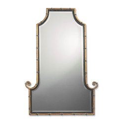 Himalaya Iron Mirror - *This flat top, arch mirror is framed by an antiqued gold iron rod with matte black inner lip.  Black iron bands accent the frame.  Mirror is beveled.