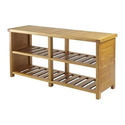 Winsome Wood - Keystone Shoe Bench - Now organize your shoes with our Keystone Shoe Bench where top seat has extra shelf to stack clothes or place more shoes while bottom two slated shelves has four sections. It is made of Combination of Solid and Composite wood in teak finish and is ith weight of 200 lbs.