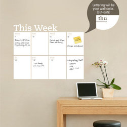 Simple Shapes - Weekly Dry Erase Calendar Wall Decal - This write and erase Dry Erase weekly planner decal is the perfect solution to keep you organized! The days of the week are cut into the Dry Erase vinyl so your wall color shows through. It is applied directly to the wall. Use any dry erase marker. (Dry Erase Pens/Markers not included)