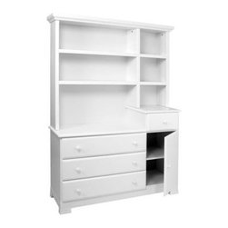 Kalani Combo Dresser and Hutch Set in White - This white dresser and hutch combo was one of the most popular sellers in the Beverly Hills children's design boutique I ran. Parents loved it for its stylistic longevity, simplicity, and storage capacity. And, of course, classic beauty.