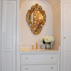Eclectic Powder Room by CJB DESIGNS LLC
