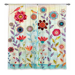 "DiaNoche Designs - Window Curtains Unlined - Sascalia Morning Hour - Purchasing window curtains just got easier and better! Create a designer look to any of your living spaces with our decorative and unique ""Unlined Window Curtains."" Perfect for the living room, dining room or bedroom, these artistic curtains are an easy and inexpensive way to add color and style when decorating your home.  This is a tight woven poly material that filters outside light and creates a privacy barrier.  Each package includes two easy-to-hang, 3 inch diameter pole-pocket curtain panels.  The width listed is the total measurement of the two panels.  Curtain rod sold separately. Easy care, machine wash cold, tumbles dry low, iron low if needed.  Made in USA and Imported."