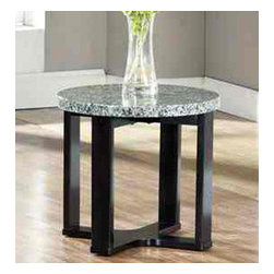 Steve Silver Furniture - Steve Silver Gabriel Round Marble Top End Table with Black Base - Round marble veneer sits atop a multi-step dark wood base.