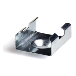 Klus 1072 - LED Profile Mounting Clip - Mounting clip for LED profile housings. Zinc plated steel and has one 5.4mm (0.21 in)  diameter hole for screw mounting.