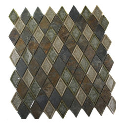 "Roman Collection Emperial Slate Diamond Glass Tile - Roman Collection Emperial Slate Diamond Glass Tile These gorgeous mosaics are hand pressed and hand filled. Each glass chip are hand pressed and then filled with colored crushed glass chips to create an intensely faceted surface that capture and reflects light, making it look like thousand tiny diamonds. Great to use as a back splash; as well as any decorated spot in your home. Chip Size: 1x1 Color: Cream, Forest Green, Multicolor Material: Slate and Porcelain Shell Filled with Crushed Glass Finish: Crackled Glass and Colored Chips Enveloped in Porcelain and Polished Sold by the Sheet - each sheet measures 11""x11x (0.84 sq. ft.) Thickness: 8mm"