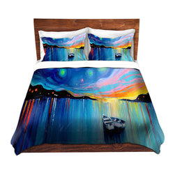 DiaNoche Designs - Duvet Cover Microfiber - Midnight Harbor xxxii - DiaNoche Designs works with artists from around the world to bring unique, artistic products to decorate all aspects of your home.  Super lightweight and extremely soft Premium Microfiber Duvet Cover (only) in sizes Twin, Queen, King.  Shams NOT included.  This duvet is designed to wash upon arrival for maximum softness.   Each duvet starts by looming the fabric and cutting to the size ordered.  The Image is printed and your Duvet Cover is meticulously sewn together with ties in each corner and a hidden zip closure.  All in the USA!!  Poly microfiber top and underside.  Dye Sublimation printing permanently adheres the ink to the material for long life and durability.  Machine Washable cold with light detergent and dry on low.  Product may vary slightly from image.  Shams not included.