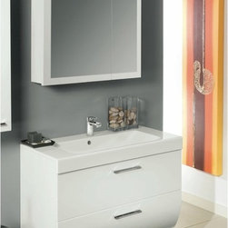 Iotti - 30 Inch Bathroom Vanity Set - This is a contemporary style in vanity sets that delivers handsome looks and lasting performance. A fitted white solid resin sink matches the four available finishes: Glossy White, Natural Oak, Wenge and Gray Oak. The double drawer design curves under at the bottom and opens smoothly with chrome handles and closes quietly on soft close runners. The two shelf medicine cabinet features offset double mirrored doors that resist scratches and corrosion. Comes complete with vanity light. Made in Italy. Set Includes: . Vanity Cabinet (2 drawers). Fitted ceramic sink (30.4 inch x 17.3 inch ). Medicine Cabinet (30.9 inch x 27.7 inch ). Vanity Light. Vanity Set Features:. Vanity cabinet made of engineered wood. Cabinet features waterproof panels. Available in Glossy White (as shown), Wenge, Natural Oak, Gray Oak. Cabinet features 2 soft-closing drawers. Faucet not included. Perfect for modern bathrooms. Made and designed in Italy. Includes manufacturer 5 year warranty.
