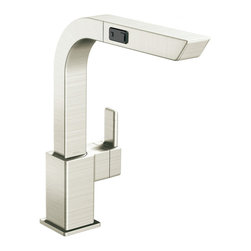 Moen - Moen S7597CSL Single Handle High Arc Pullout Kitchen Faucet - With its ultra-contemporary styling, the 90 Degree collection brings a sharp, clean look to the home.