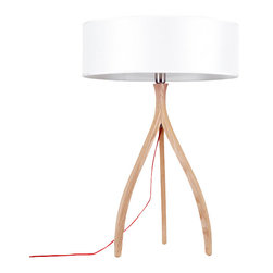 ParrotUncle - Russia Ash Wood Tripod Base With Drum Shade Table Lamp - Watch how the light shining in the white drum lamp shade. This table lamp is a mash-up of traditional and modern. All the classic details make your home shine in the right light.