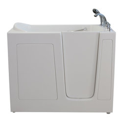 Creative Bathrooms - E-Series Dual Massage 30 in. x 54 in. Walk In Tub in White with Right Drain - The E-Series 30 in. x 54 in. Dual Massage Walk In Tub is the most affordable walk in tub featuring an easy-to-clean high gloss triple gel coat tub shell for excellent color uniformity. Stainless steel frame with adjustable feet and has a 6.5 in. threshold for easy entry. ADA Compliant with components of 17 in. seat height, textured floor and a built-in grab bar. The E54 dual massage tub comes standard with eighteen (18) therapeutic air massage jets; six (6) adjustable direction hydrotherapy jets, both with pneumatic on/off push controls; and features an in-line water heater (1.5W). Includes a five (5) piece roman faucet in chrome with hand held shower unit. The E-Series 30 in. x 54 in. has soaking, air massage or dual massage options and right or left drain location. Size: 30 in. width x 54 in. length x 39 in. height. Limited Three (3) Year warranty on tub components. For more product information, please call 1.800.480.6850.
