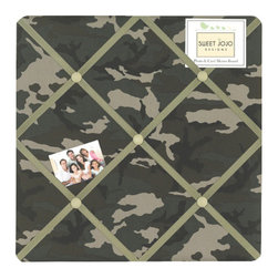Sweet Jojo Designs - Camo Green Fabric Memo Board - The Camo Green Fabric Memo Board with button detail is a great way to display photos, notes, and postcards on your child's wall. Just slip your mementos behind the grosgrain ribbon to create an engaging piece of original wall art. This adorable memo board by Sweet Jojo Designs is the perfect accessory for the matching children's bedding set.