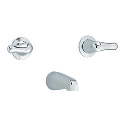 """American Standard - American Standard 3275.505.002 Colony Soft 2-Handle Tub Filler,  Chrome - American Standard 3275.505.002 Colony Soft 2-Handle Tub Filler,  Chrome. This tub filler assembly features 2 lever handles, a wall-mounted IPS tub spout, and a 1/2 union female NPT inlet and 1/2"""" IPS outlet."""