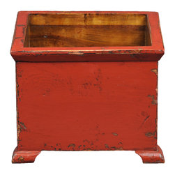 Antique Revival - Red Tuilleries Planter - This wooden, European-style square planter with small, stub legs looks perfect in any kitchen or on a patio. The bright butter red paint adds a great splash of color, and the lightly distressed exterior and natural wood interior evoke an old-fashioned vibe. Item is newly made.