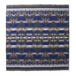 Faribault Woolen Mill Co. - Southwest Wool Blanket, Navy/Khaki - Inspired by Native American artwork, the Southwest Design is one of our most intricate patterns. The style is offered in three vibrant color combinations, each complimenting the artwork in its own unique way. But beyond just a beautiful design, the Southwest Design is one of our most luxurious blankets. Double woven in merino wool and finished with a traditional whipstitch, the extra yarn gives weight to the blanket making it one of our heaviest in line. More than just a blanket, the Southwest Design is a showcase for true American craftsmanship.