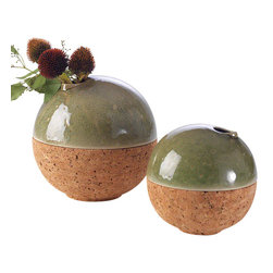 Studio A - CorkBubbleVase - ReactiveGreen - Large - Amusing ceramic sphere vases sit inside a cork base to achieve an unexpected mix of textures and materials. Available in two sizes. Each size sold separately.