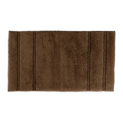 None - Tranquility Cotton Chocolate 30x50 Bath Rug - Create a tranquil setting in the bath or shower with the Tranquil Cotton collection of machine washable bath rugs. The short, soft loop pile is made of 100-percent cotton with a classic design that blends with any decor and non-skid latex backing.