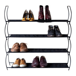 Umbra - Umbra Imelda Stackable Shoe Rack - Our Imelda Stackable Shoe Rack from Umbra keeps shoes and boots neat and organized. Made of a sturdy black metal frame with two breathable black mesh fabric shelves. Stack multiple racks for maximum storage space.