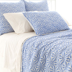 """Pine Cone Hill - PCH Varkala French Blue Quilt - The PCH Varkala quilt's eclectic style expresses bold, worldly panache. This lightweight blanket delivers modern sophistication with a reversible French blue and white floral pattern. 100% cotton; Machine wash; Available in twin, full/queen and king sizes; Designed by Pine Cone Hill, an Annie Selke company Twin: 68""""W x 88""""H; Full/queen: 88""""W x 88""""H; King: 102""""W x 92""""H"""