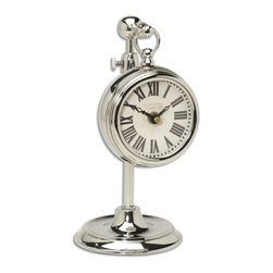 """Uttermost - Uttermost Pocket Watch Nickel Marchant Cream X-07060 - Nickel plated brass pocket watch replica that hangs on an adjustable telescopic stand. Requires 1-AA battery. Stand adjusts from 8"""" to 12 1/2"""" in height."""