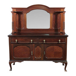 Antiques - Antique Mahogany Queen Anne Buffet Sideboard Server - Mahogany finish. Country of origin: England . Circa:1920. Queen Anne style. Scalloped backsplash. Beveled mirror. Turned columns. Paneled surfaces. 2 Drawers. Brass pulls.  Dovetail drawers.  2 Cabinets w/ 2 removable shelves. 2 Paneled doors. Cabriole legs w/ pad feet. Condition: It has wood imperfections, separations, scratches, a foot is missing part of its shape, a door is missing a pull and the mirror shows some flaws due to age.