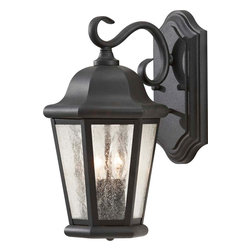 Murray Feiss - Murray Feiss Martinsville Transitional Outdoor Wall Sconce X-KB1095LO - Modeled after your typical outdoor lantern design this Home Solutions Martinsville Transitional Outdoor Wall Sconce by Murray Feiss is perfect. However, what set this design apart from any of the others is its beautiful Clear seeded glass shade. Finished in Black coating, this outdoor wall sconce is not only a traditional design but it is also very elegant. With a capacity for (2) 60W light fitting, this sconce will surely transform any outdoor area.