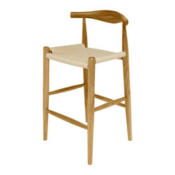Kathy Kuo Home - Quinn American White Oak Wood Modern Rattan Seat Bar Stool - Beautiful, rustic wood surrounds casual woven rattan in an eclectic bar stool. This stylish seat is the perfect shape and height for long, comfortable evenings at your bar. The detailed grain of the American white oak makes each piece unique.