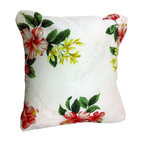 BohoCHIC Maui - Hawaiian Hibiscus Pillow Cover, Cushion Cover, Decorative Hawaii Pillow - This cushion has been hand crafted from beautiful floral Hawaiian printed cotton with Hawaiian Hibiscus as its main feature over a cream background. Ivory textured silk was used for the back of the pillow. My unique lining technique reinforces the stitching on the delicate fabrics used and makes the cover extra luxe! An envelope opening helps the owner to easily change inserts or clean the item with no fuss.