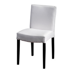 Artemano - Cath Upholstered Dining Chair , White Leather - The Cath Dining Chair has a classic, simple design and is upholstered in luxurious, high-quality bicast leather or natural linen fabric, depending on the finish chosen. Subtle stitching along the sides of the chair demonstrates quality craftsmanship and attention to detail.  The Cath chair is a great choice for a multitude of dining room interior design styles!